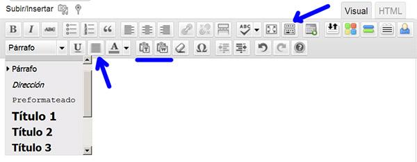 Botones/Opciones para edición de texto en modo Visual.