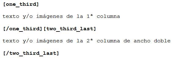 Figura 3: Estructura para 2 columnas, la primera 1/3 del ancho, la segunda 2/3