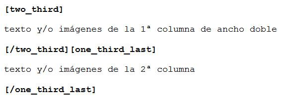 Figura 4: Estructura para dos columnas: 2/3 del ancho la primera, 1/3 del ancho la segunda