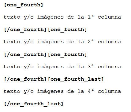 Figura 5: Código para división en cuatro columnas iguales