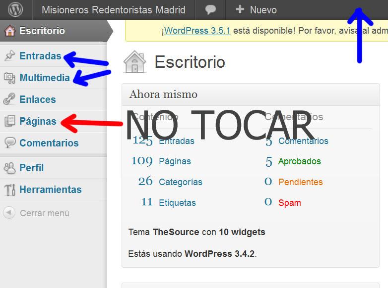 Parte superior izquierda del escritorio de WordPress