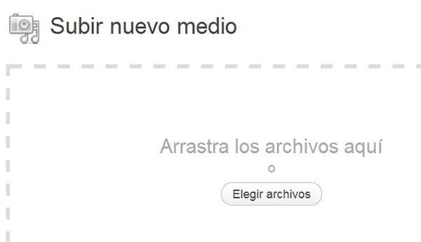 Pantalla para añadir (subir) nuevo archivo a la librería multimedia