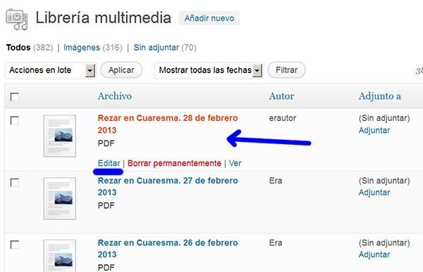 Lista de archivos multimedia, el primero el recién incluido