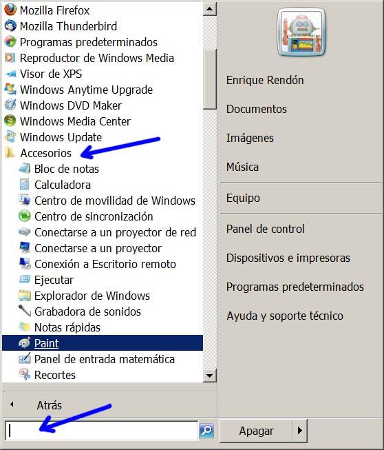 Figura 1: Ejecutando Paint en Windows 7
