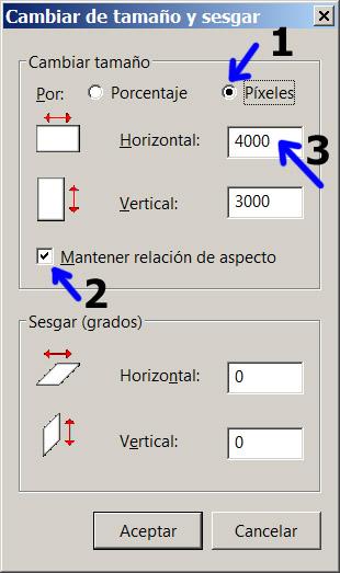 Figura 3: Cambiar tamaño (dimensiones) de una imagen