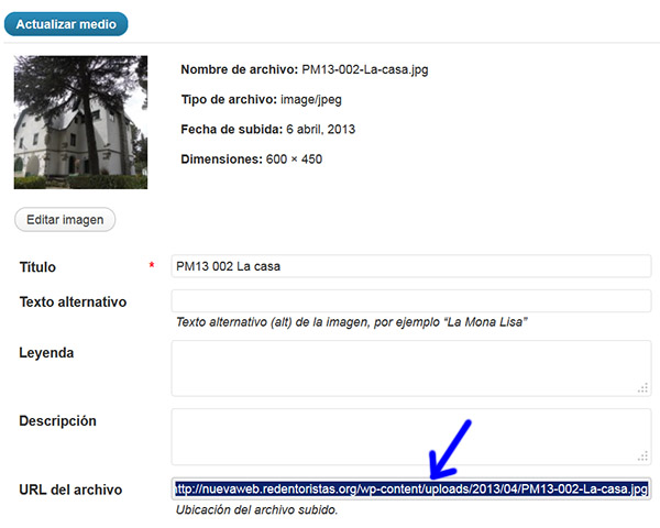 Figura 3: Copiando el enlace a una foto para la presentación.